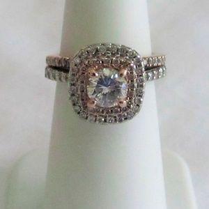 .76 E Color Diamond With Pink Diamond Halo 1.40CTW